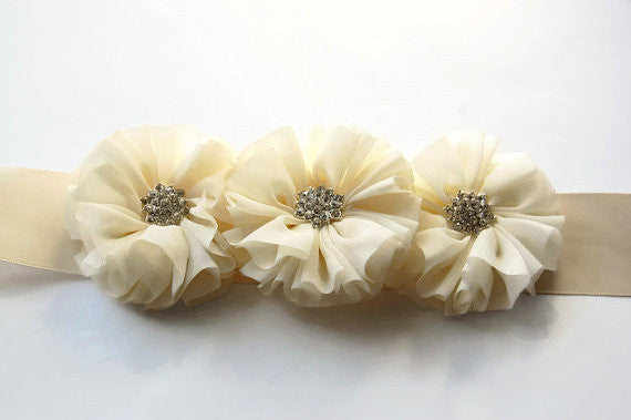 Ivory Maternity Sash/Wedding Sash