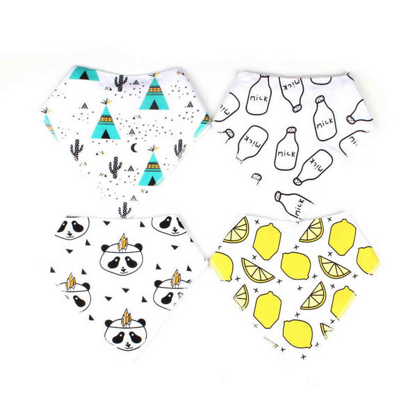 4PCS/lot Cartoon Bibs Set