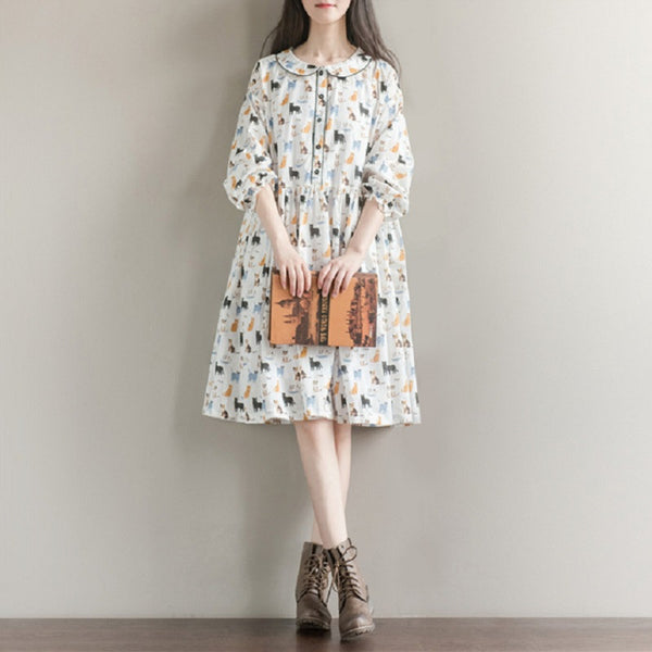 Cat Print Collar Dress