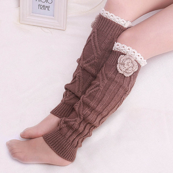 Knit Flower Boot Socks