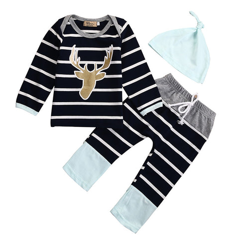 3pcs Set Infant Deer & Stripes