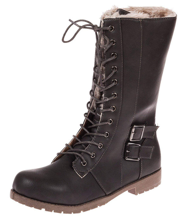 Chatties Ladies Faux Furlined Combat Winter Boots with Lug Sole