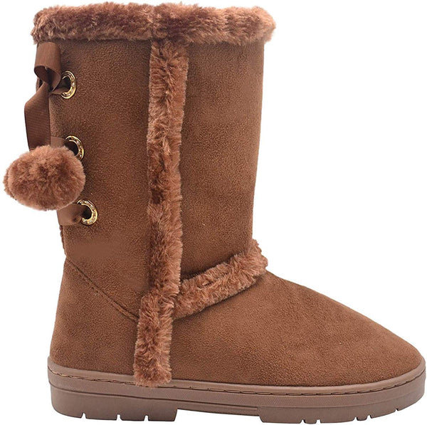 Via Rosa Womens 11 Inch� Mid High Tall Microsuede Winter Boots with Faux Fur Trim and Rhinestone Embellishment