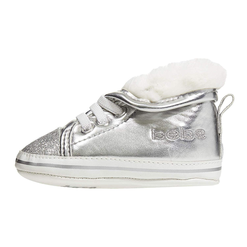 bebe Infant Girls Sneakers with Glitter Toes and Faux Fur Collars Sherpa Shoes