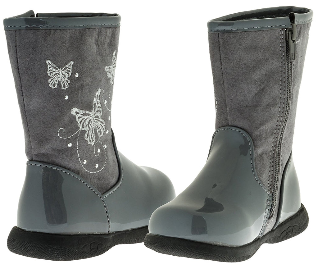 Sara Z Toddler Girls Patent/Matte Boots with Butterflies (Black), Size 7-8