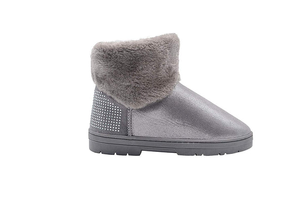 Via Rosa Womens Short Mid Calf Shimmer Winter Boots with Faux Fur Shaft and Sparkly Rhinestone Embellishments