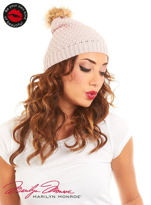 Marilyn Monroe Women Bubble Knit Beanie Faux Fur Pom Pom
