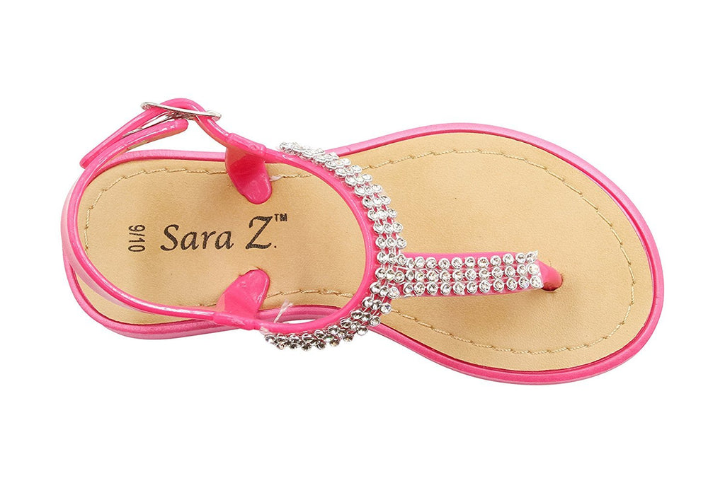 Sara Z Toddler Girls Vegan T-Strap Sandals with Rhinestones