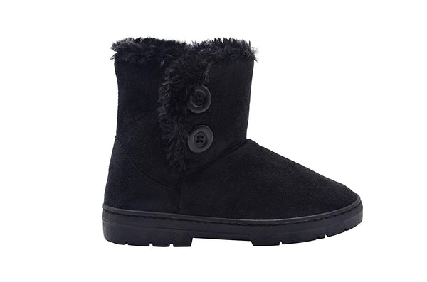 Chatz Womens 6 Inch� Short Mid High Microsuede Winter Boots with Faux Fur Trim