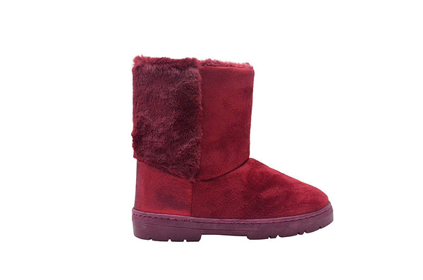 Via Rosa Womens 7 Inch� Mid Calf Microsuede Winter Boots with Faux Fur Back Shaft Embellishment