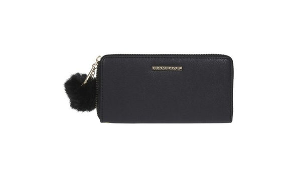 RAMAPGE Single Zip Around Wallet with Pom and Removable Wristlet