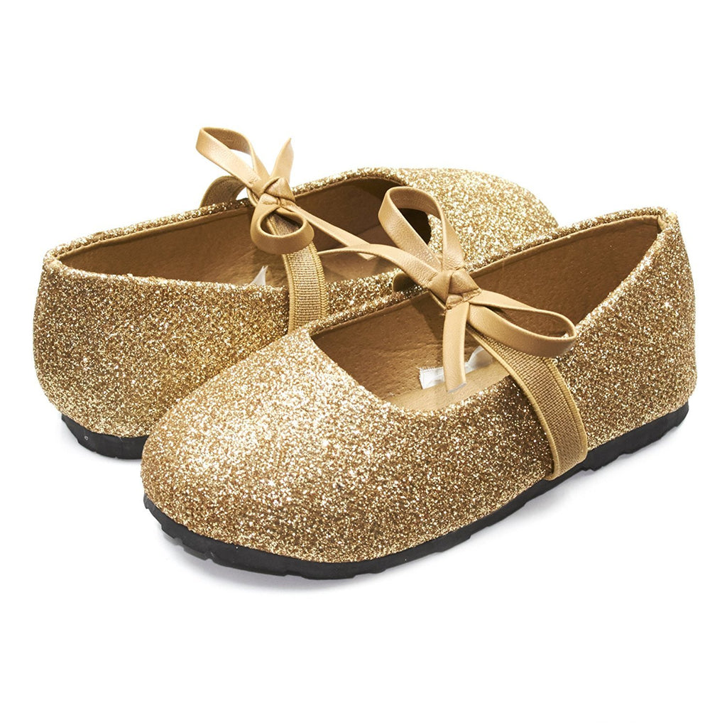 Sara Z Kids Toddlers Girls Glitter Ballet Flat Slip On Shoes With Elastic Strap and Bow Gold Size 9/10