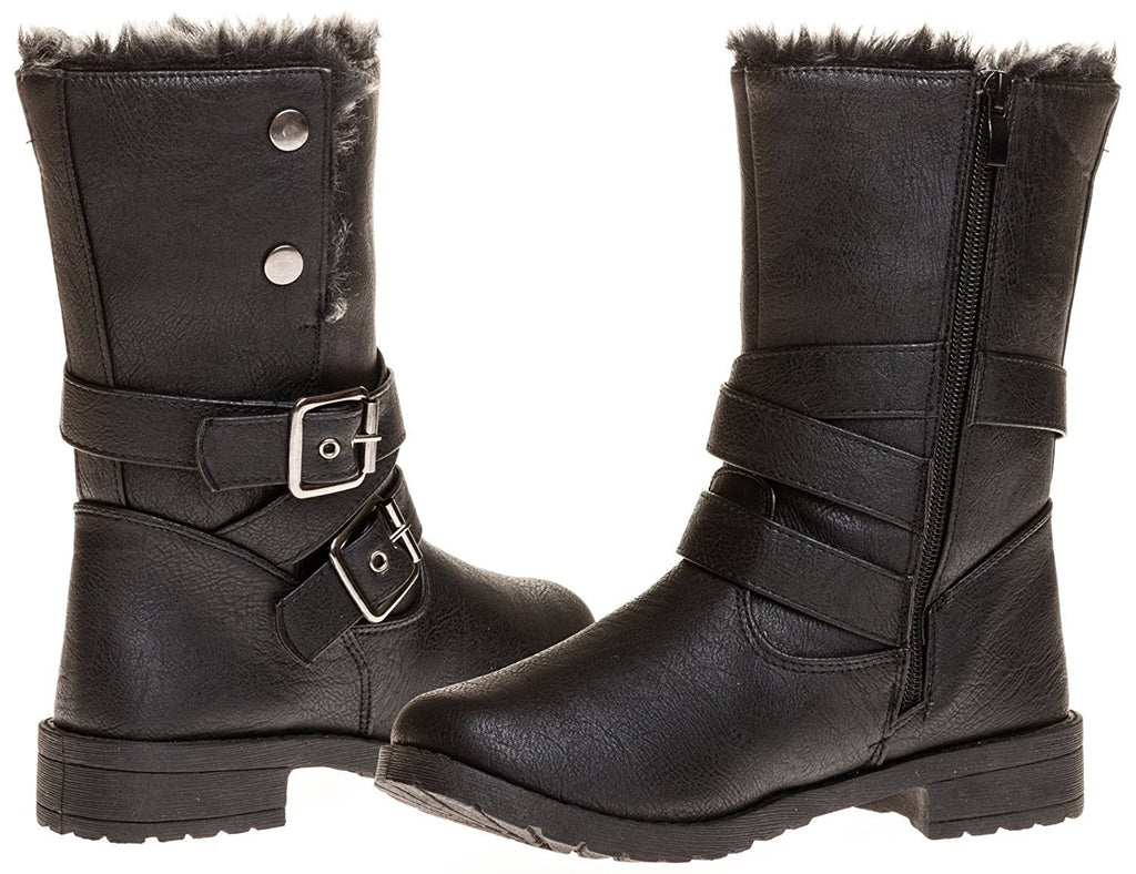 Sara Z Ladies Pu Moto Boot with Snap Closure (Black), Size 11