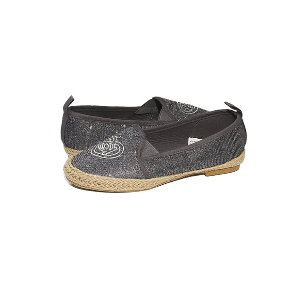 bebe Girls Big Kid Beachy Espadrille Slip-On Loafer Flat Glitter Mesh Shoe