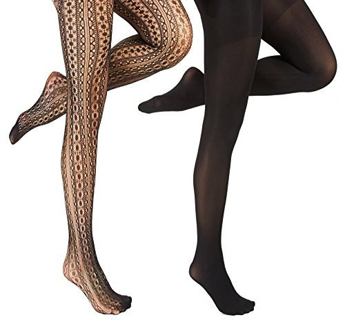 Marilyn Monroe Womens Ladies 2Pack Black Circle Fishnet Tights With Solid Opaque (See More Sizes)