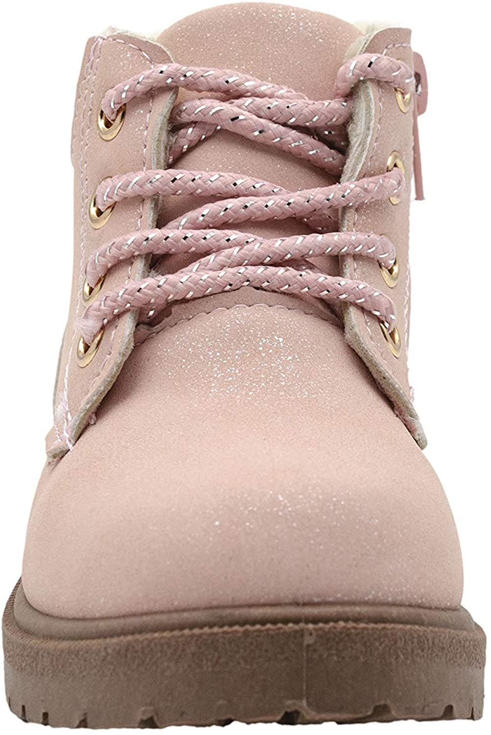 Rampage Toddler Girls' Little Kid Slip On Short Shimmer Nubuck Boots with Metallic Trims