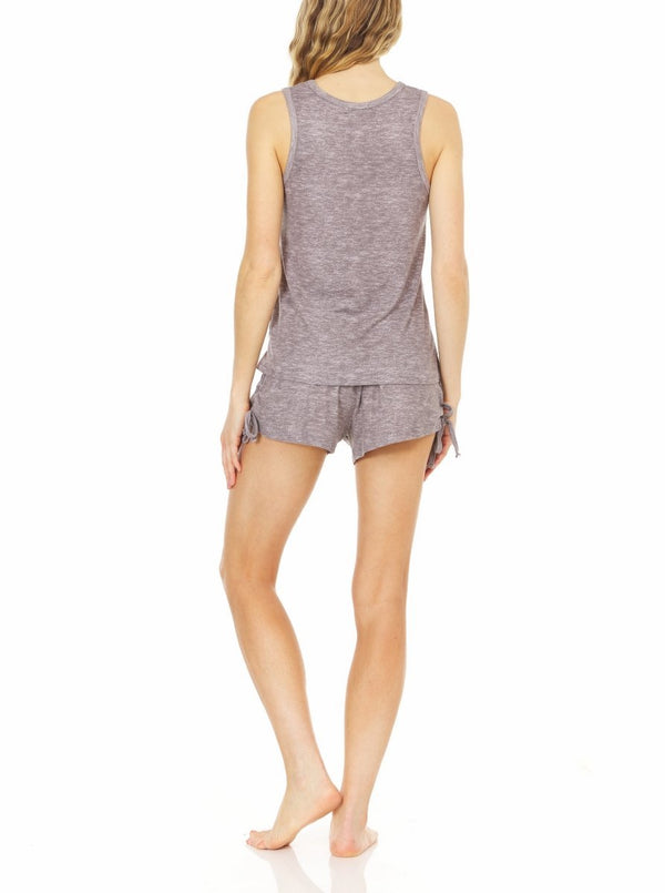 Laundry by Shelli Segal Womens Hacci Tank Top w/ Matching Shorts Lounge Set | Ruched & Tie Side Details, Soft Summer Sleepwear, Two-Piece Sleeveless Pajama | Small to Extra Large Nightwear