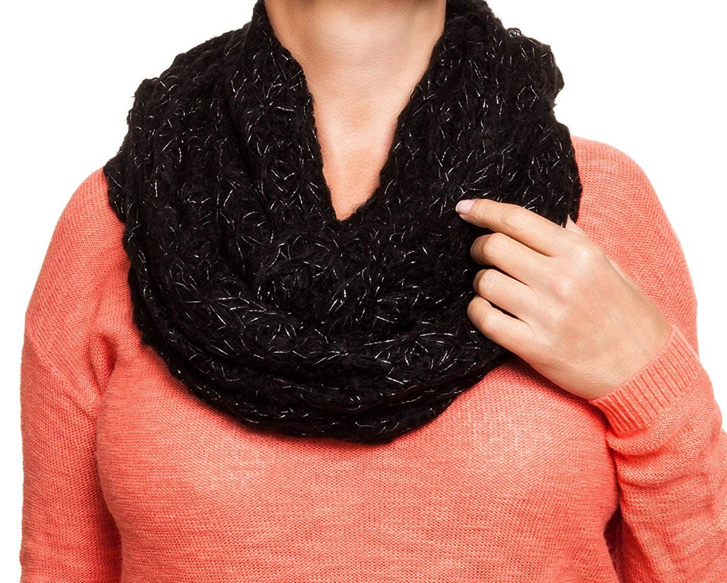 Rampage Lurec Lace Knit Infinity Scarf - Black