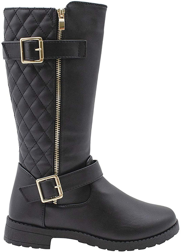 Via Rosa Womens Slip On Tall Winter Boots with Quilted Back, Side Zipper and Buckle Straps