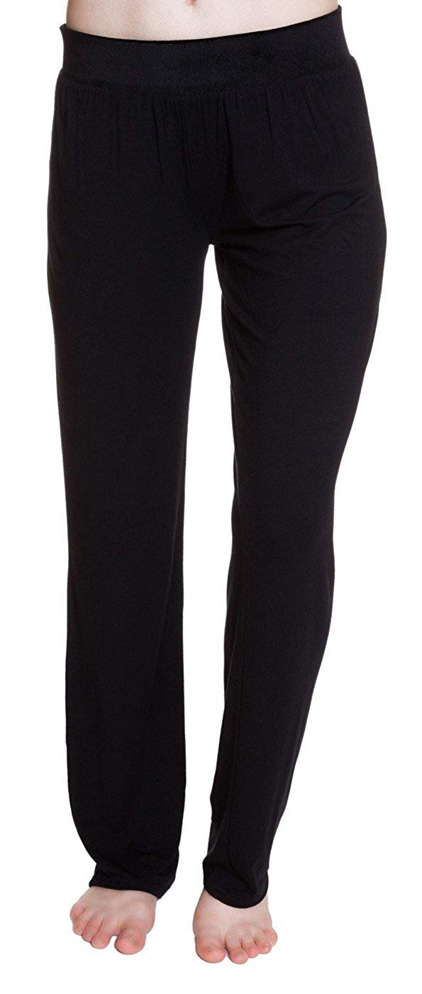Steve Madden Rayon Jersey Knit Sleep Pants with Velvet Knit Waistband Jet Black - Medium