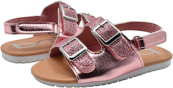 bebe Girls Toddler Baby Little Kid Shiny Metallic Slide Sandal with Sparkly Glitter Strap and Double Buckles - Fashion Summer Shoes Silver 5