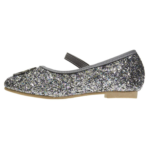 bebe Toddler Girls Ballet Flats with Elastic Strap Chunky Glitter Mary Jane Sandals