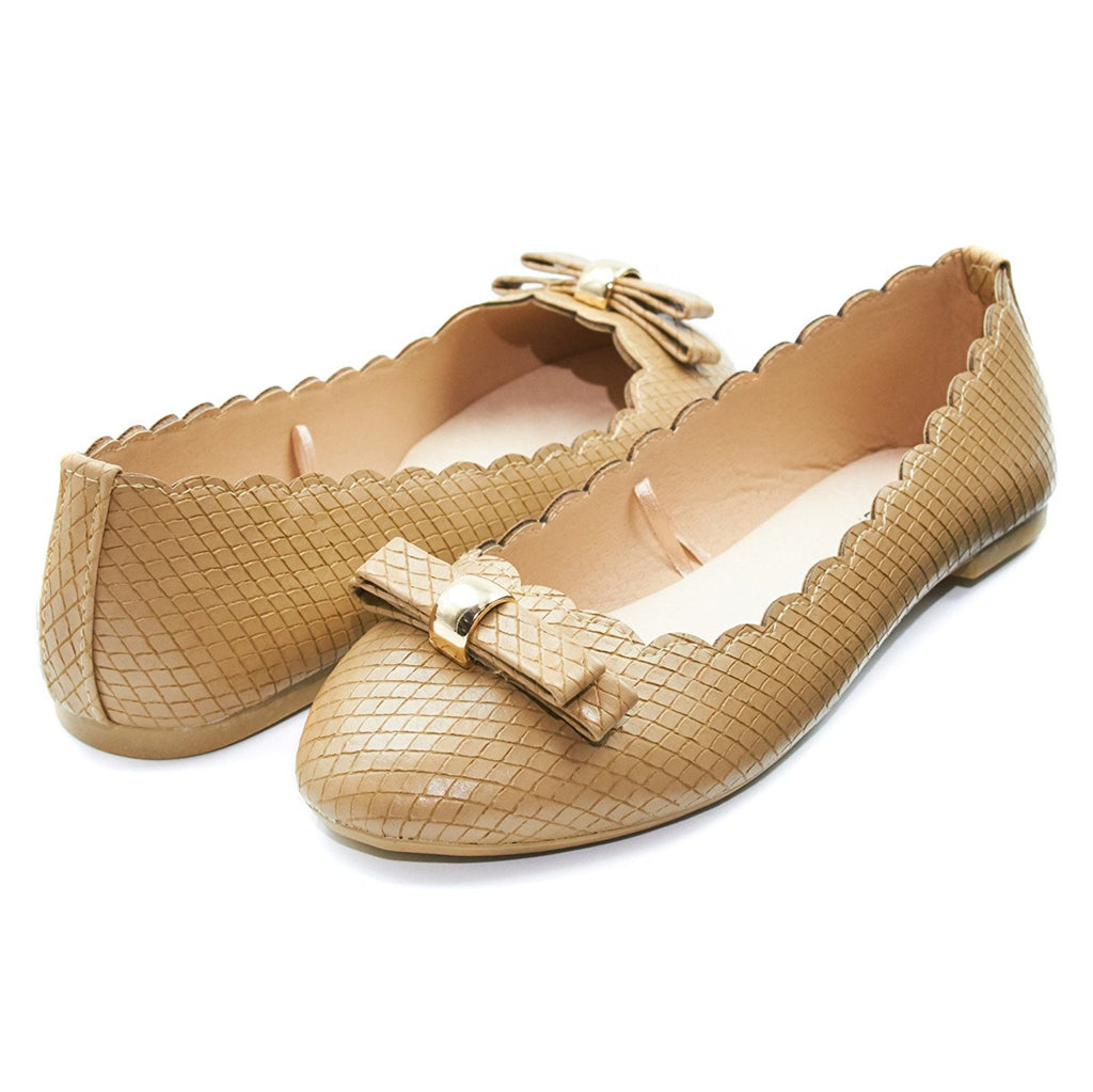 Sara Z Womens Vegan Snakeskin Ballet Flat Slip On Shoes With Bow and Scalloped Edges (See More Colors and Sizes)