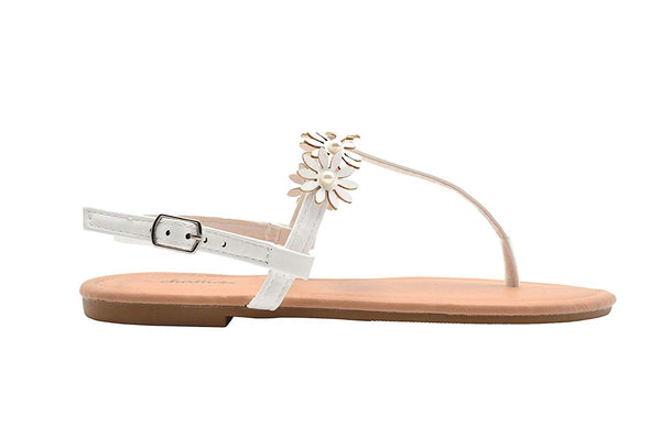 Chatties Ladies Fashion Sandals Pu T Strap Summer Flat with Pearl & Flowers