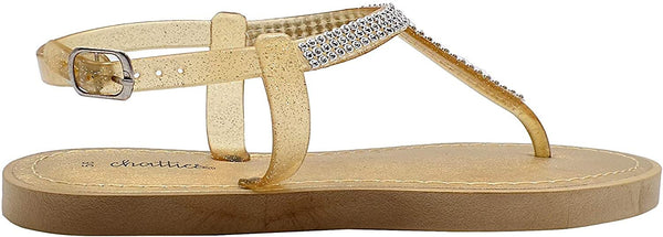 Chatties Women's PCU T-Strap Thong Rhinestone Sandal with Metallic Footbed and Adjustable Back Strap