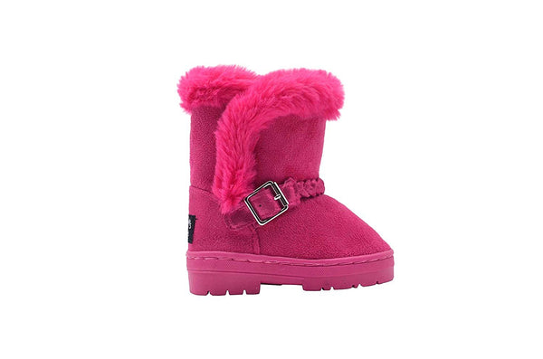 dELiAs Toddler Girls Little Kid Easy Pull On Mid Calf Microsuede Winter Boots with Faux Fur Trim and Braided Strap