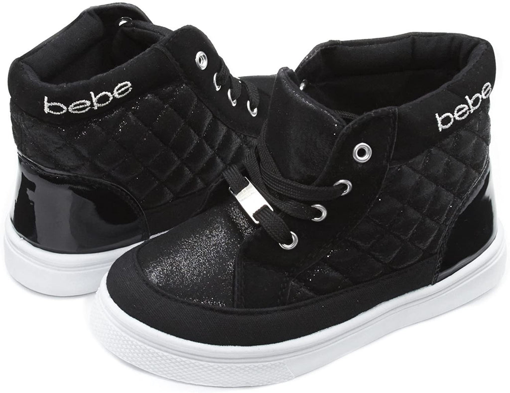 bebe Kids Toddlers Girls Quilted High Top Sneakers with Metallic Shimmer (See More Colors and Sizes)