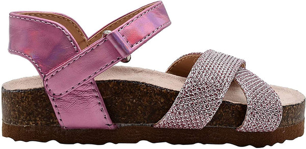 Rampage Girls Toddler Baby Little Kid Sparkly Glitter Footbed Slide Sandal with Holographic Metallic Strap - Fashion Summer Shoes