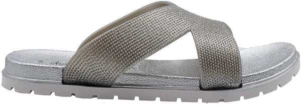 Chatties Women's Slip-On PCU Glitter Slide Sandals, Open-Toe Flat Fashion Summer Slipper Shoes