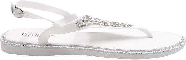 Fifth & Luxe Women's Slip-On PCU Thong Sandals with Rhinestone Upper, Open-Toe Flat Fashion Summer Shoes