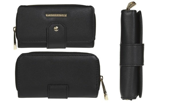 RAMPAGE Trifold Wallet with Front Tab Detailing and Back Zip Pocket