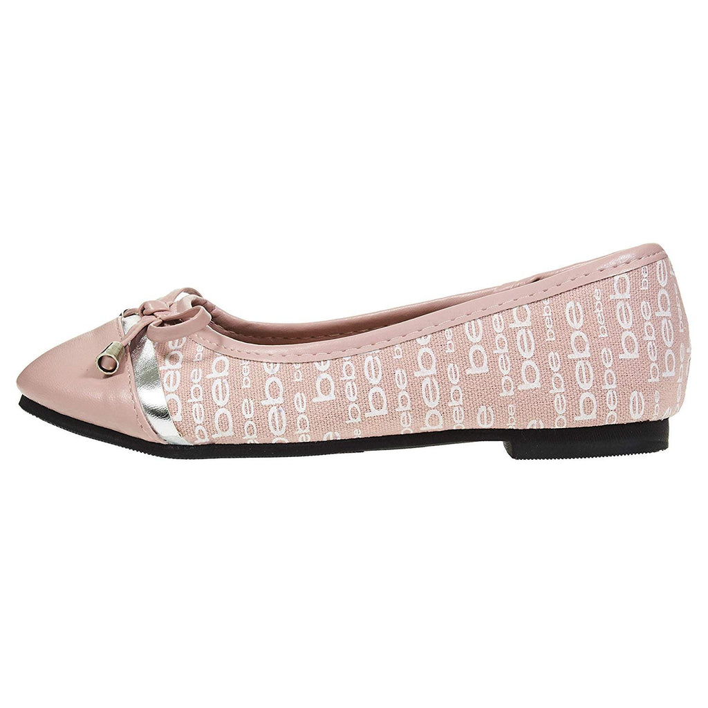 bebe Girls Ballet Flats Round Toe with Bow and Logo Print Slip-On Shoes Flexible PU Leather