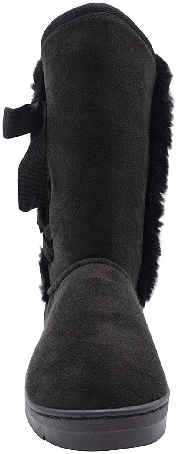 "kensie Womens Slip On Mid High 10"" Microsuede Winter Boots with Faux Fur Trims and Lace Up Ribbon"
