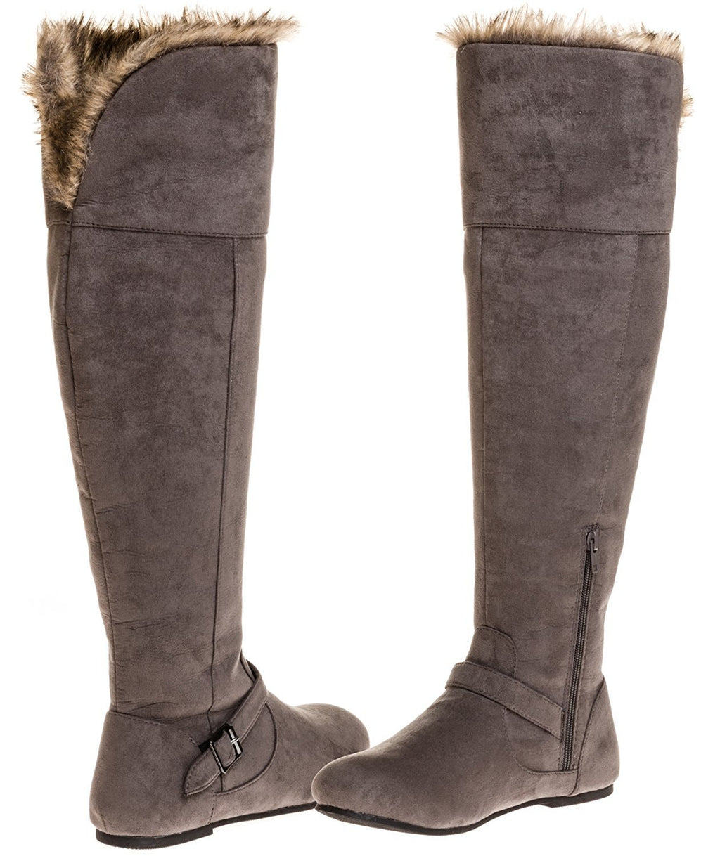 Sara Z Ladies Over The Knee Microsuede Fur Lined Boot (Grey), Size 8