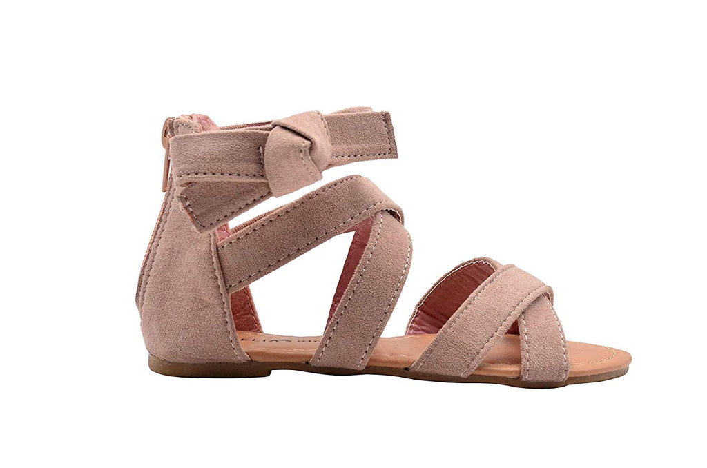 dELiAs Girls Fashion Sandals Microsuede Zip Up Ankle Flats with Bow