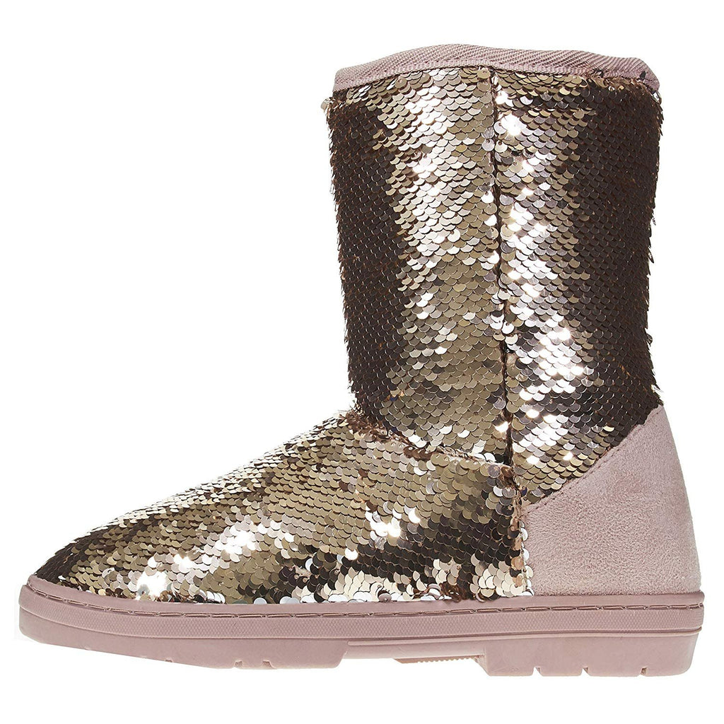 "Sara Z Women's 8"" Winter Boots Reversible Sequins Casual Mid-Calf"