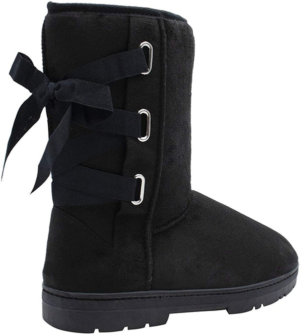 "kensie Womens Slip On Mid High 9"" Microsuede Winter Boots with Lace Up Grosgrain Ribbon"