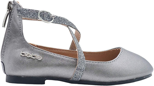 bebe Girls Big Kid Shiny Metallic Ballet Flats Slip-On Round Toe Dress Ballerina Shoe with Glitter Embellished Criss Cross Straps