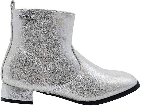 bebe Girls Big Kid Easy Pull-On Mid Calf Sparkly Metallic Dress Boots with Low Heel