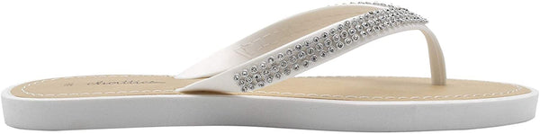 Chatties Women's PCU Rhinestone Strap Sandal - Sparkly Bling Fashion Summer Flat Shoes