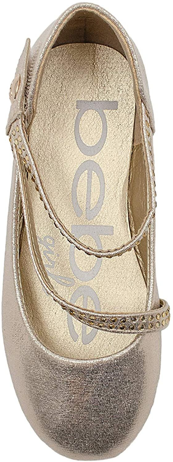 bebe Girls' Big Kid Shimmer Ballet Flat Sandals with Rhinestone Strap, Mary Jane Slip On Round Toe Dress Ballerina Shoes