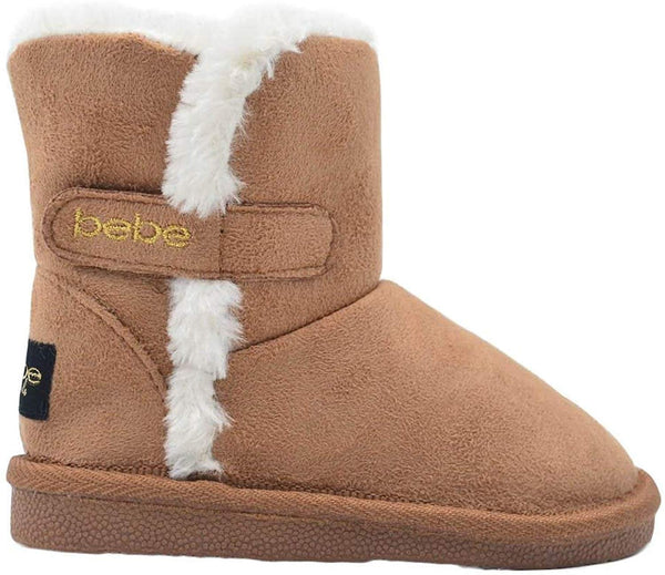 bebe Toddler Girls Little Kid Easy Pull On Mid Calf Microsuede Winter Boots with Faux Fur Trim