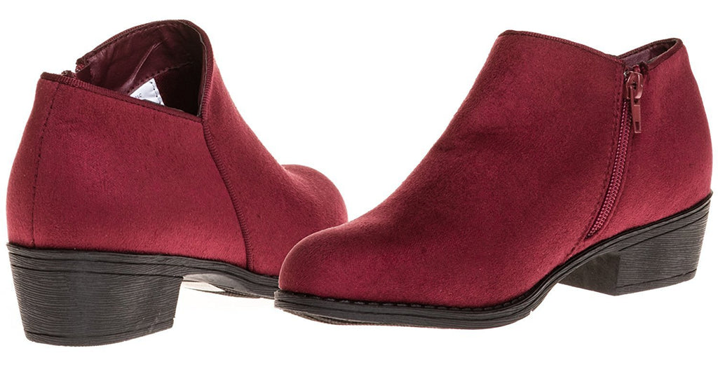 Sara Z Ladies Microsuede Bootie with Side Zipper (Burgundy), Size 10