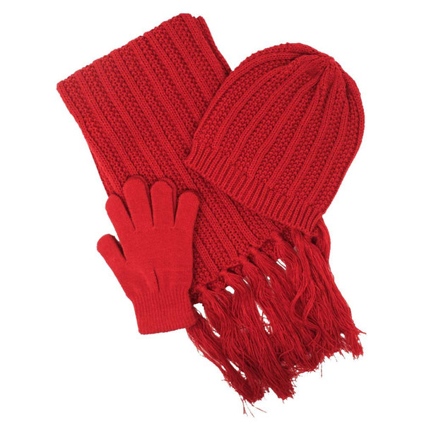Rampage Women's 3 Piece Slouchy Rib Knit Beanie Cap, Scarf and Gloves Set - Fall Winter Accessories