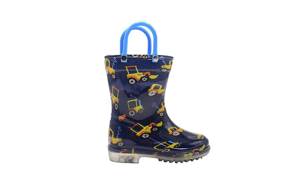 Revo Toddler Boys Rainboot Cute Animal Printed with Easy-On Handles Waterproof Shoes