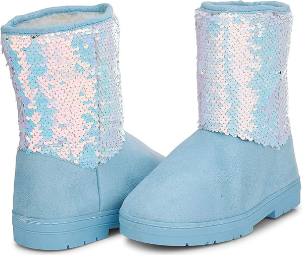 Chatties Toddler Girls' Little Kid Slip On Mid High Microsuede Winter Boots with Reversible Sequin Shaft